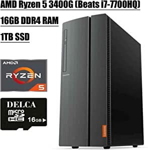 Lenovo IdeaCentre 510A Desktop Computer 2020 Flagship I AMD Quad-Core Ryzen 5 3400G (> i7-7700HQ) I 16GB DDR4 1TB SSD I DVD HDMI USB 3.0 WiFi Wired Keyboard and Mouse + Delca 16GB Micro SD Card