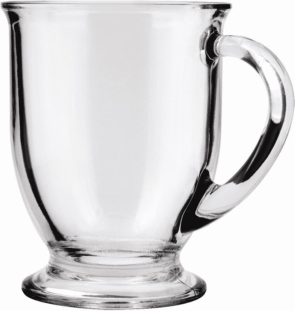 Anchor Hocking Café Glass Coffee Mugs, 16 oz (Set of 4)