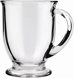 Anchor Hocking Glass 16 Ounce Cafe Mug, Set of 4, 4-Pack, Clear