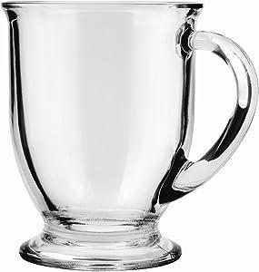Anchor Hocking Café Glass Coffee Mugs, 16 oz (Set of 4)