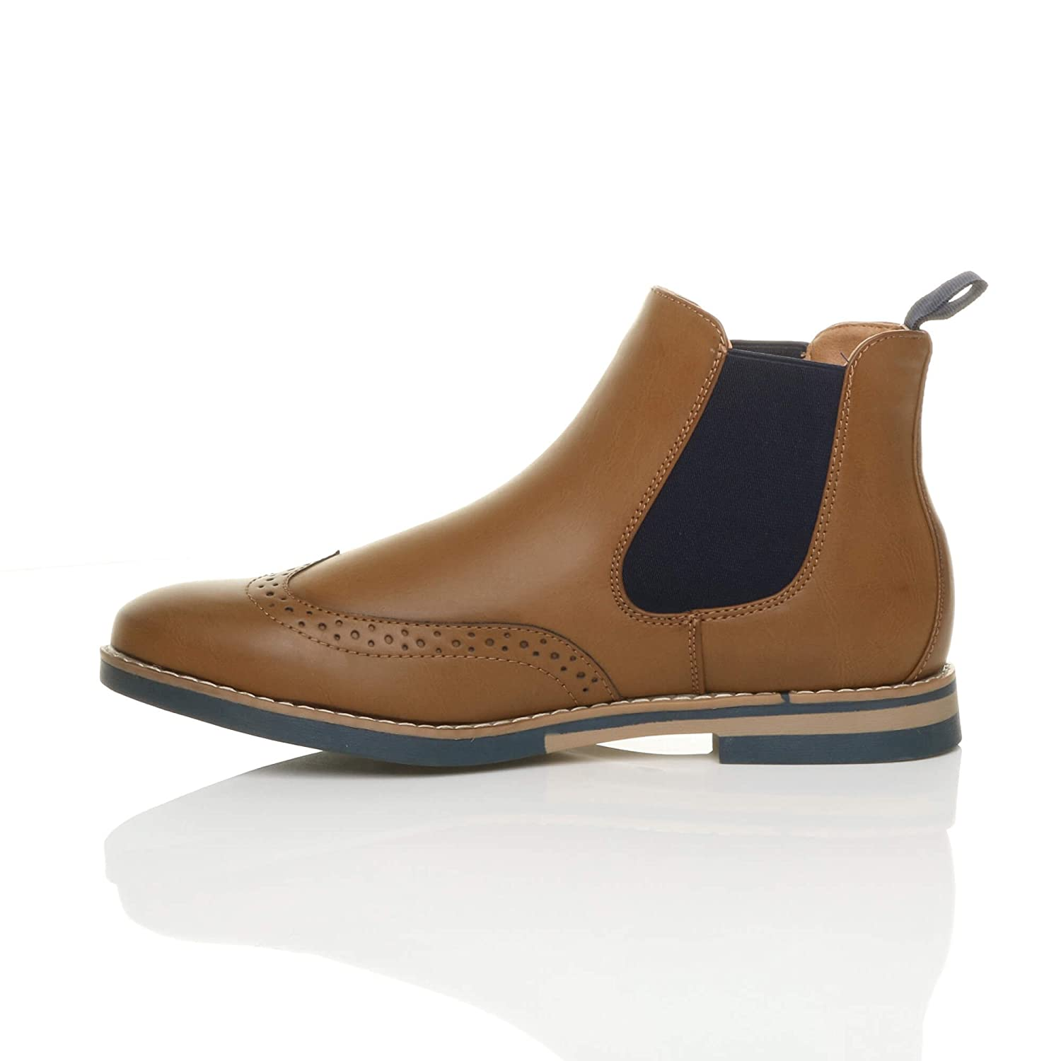 Mens round toe contrast smart work pull on brogues chelsea ankle boots size:  Amazon.co.uk: Shoes & Bags