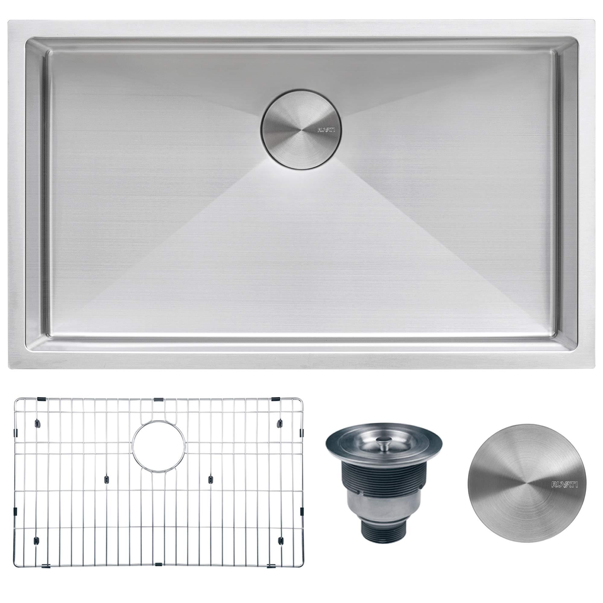 Ruvati 32-inch Undermount 16 Gauge Tight Radius Kitchen Sink Stainless Steel Single Bowl - RVH7400 by Ruvati