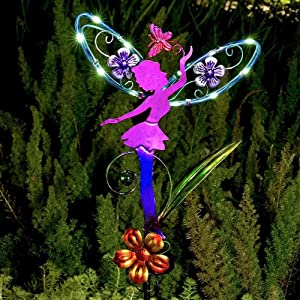 Solar Lights Outdoor Decorative Garden Stake Fairy Garden Accessories Decorations for Outside Yard Patio Porch Lawn. Yard Art.