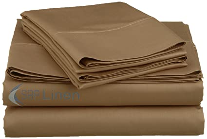 SRP Linen Solid Taupe 600 Thread Count Egyptian Cotton Bed Sheet Set With  25 Inches Extra