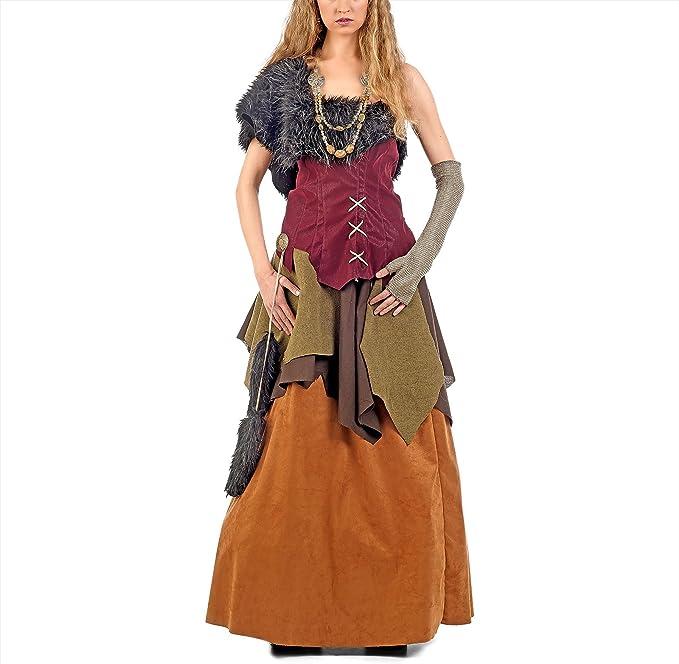Elbenwald Reina del Traje de Viking para Las Mujeres en la Piel de ...