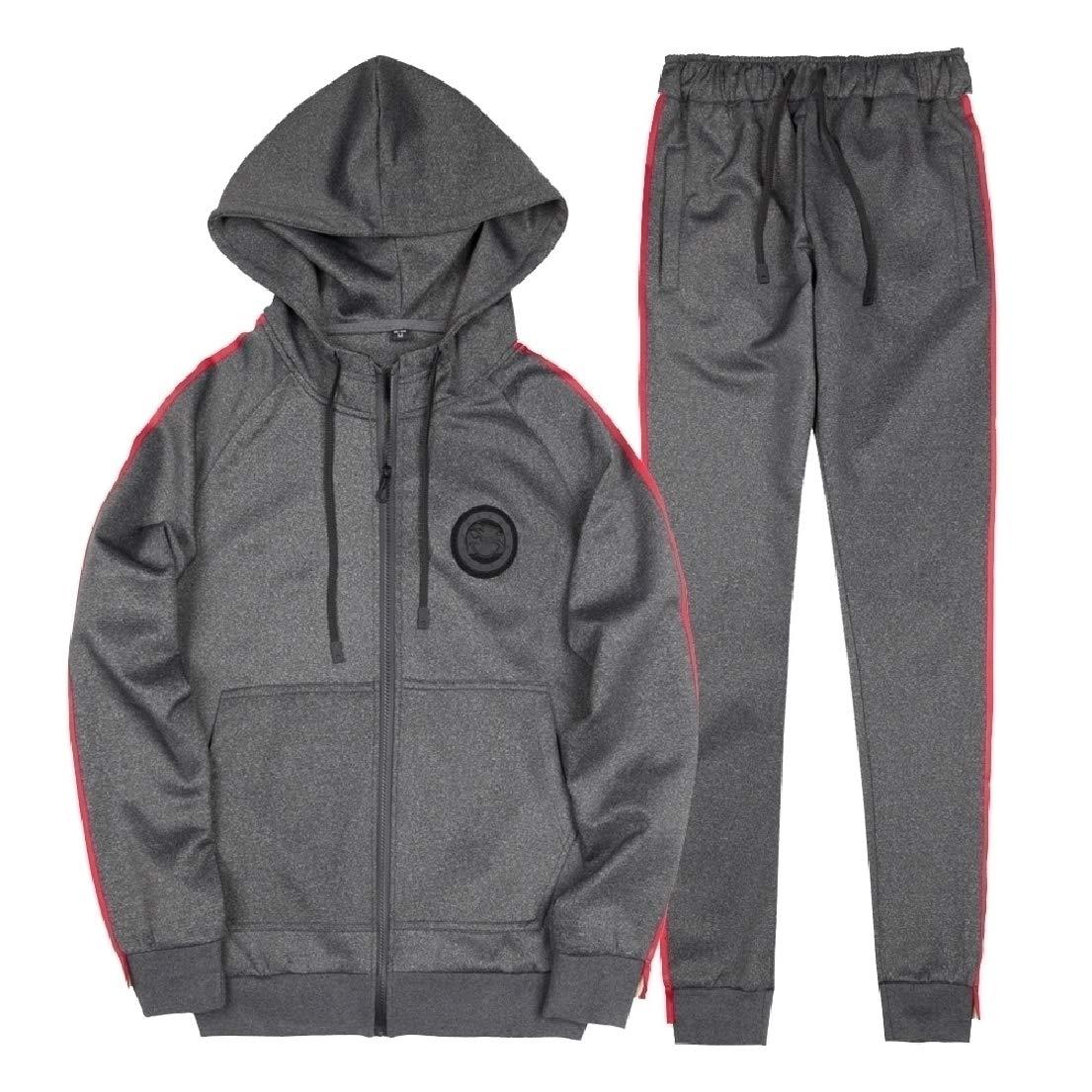 Dark Grey Grey Grey Bamyo Mens Hooded Outdoor Full-Zip Oversize