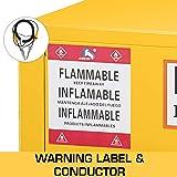 "BestEquip Flammable Cabinet Galvanized Steel 1 Door Safety Cabinet 16 Gallon 18"" Length x 23"" Width x 44"" Height Adjustable Shelf Flammable Storage Cabinet for Flammable Liquids"