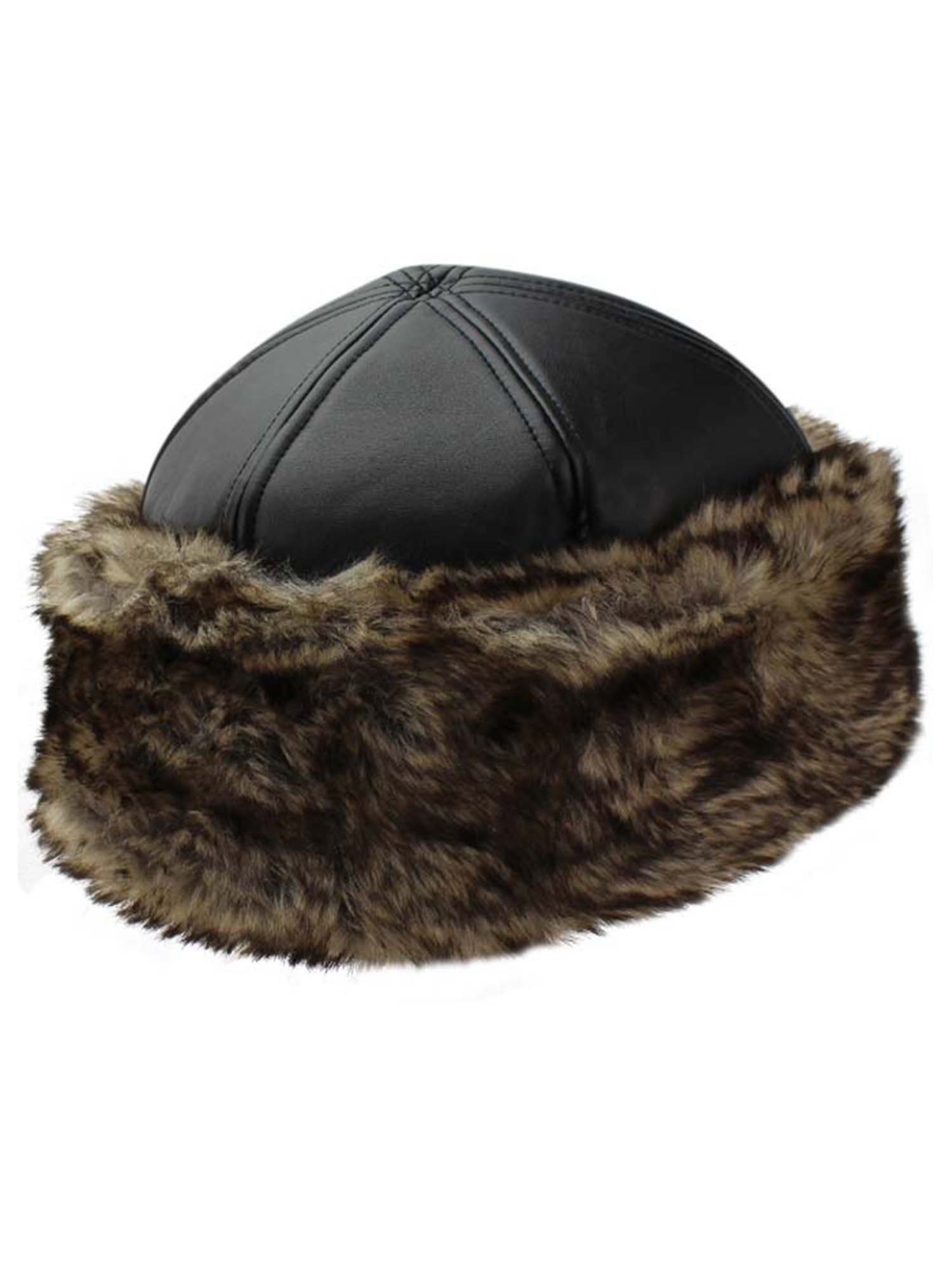 Luxury Divas Black Faux Leather & Fur Trim Russian Hat with Quilted Lining