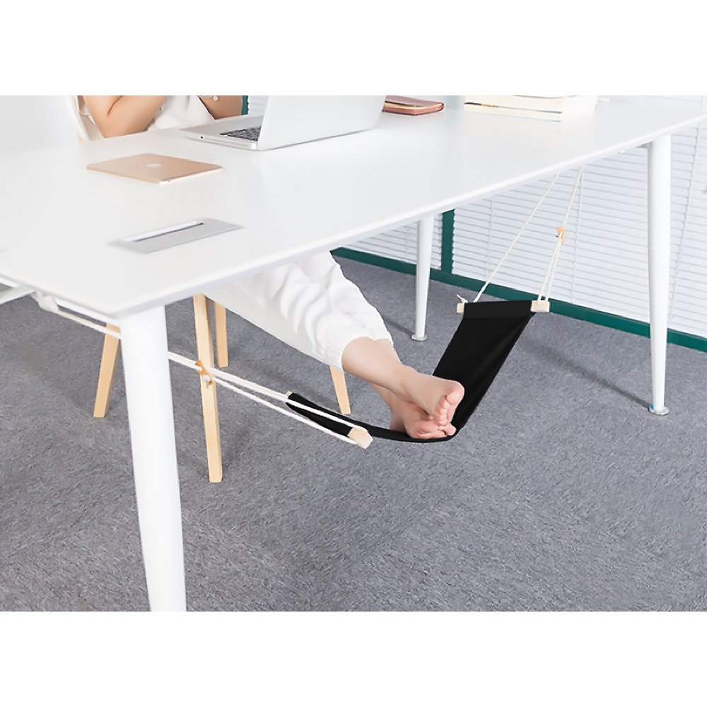 Foot Hammock - Portable & Adjustable Foot Rest Under The Desk Portable Desk Foot Stool Hammock Style Foot Rest For Home and Office Foot Rest Stands Replace Footstools by Bseen Black