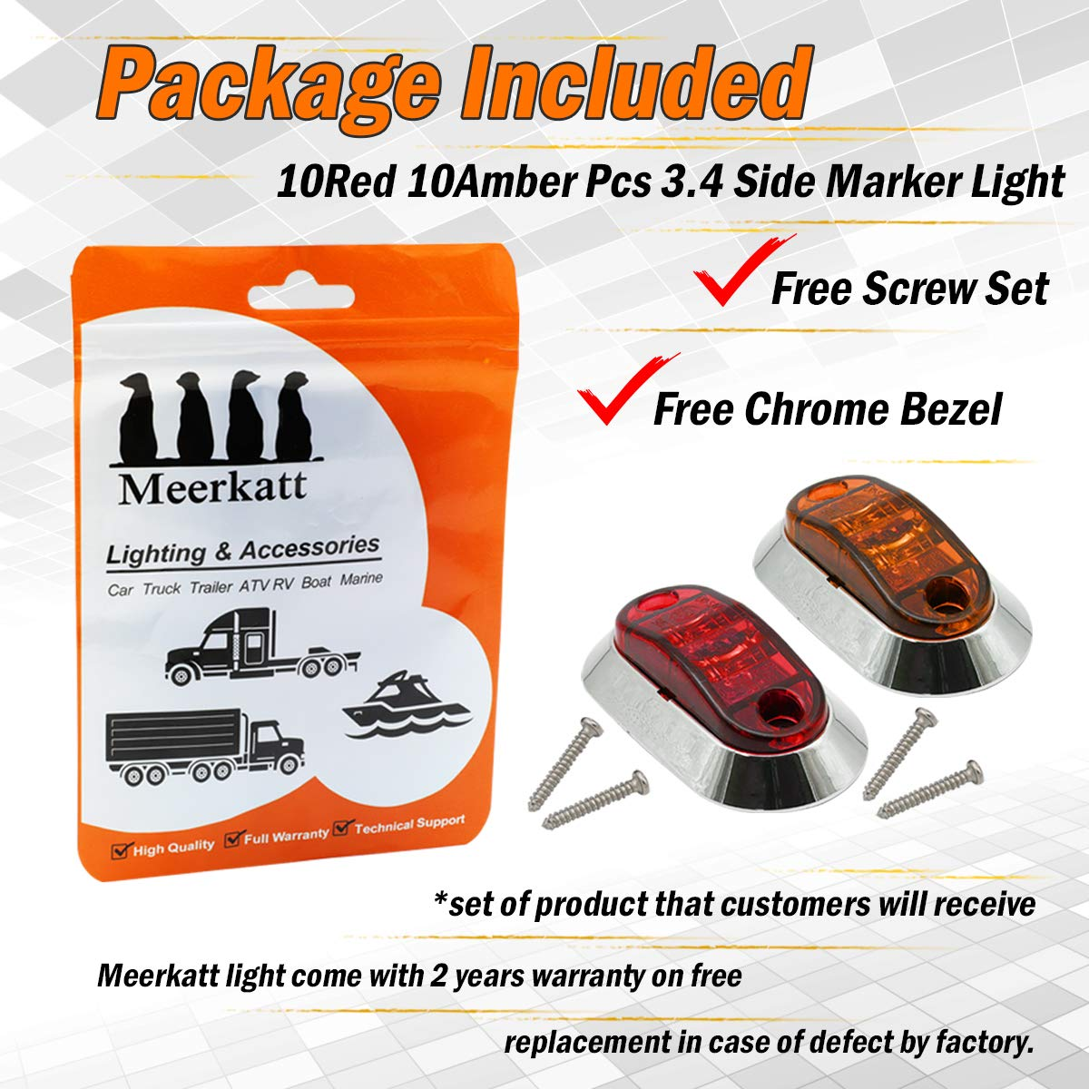 """2.5/"""" Inch White LED Oval Side Marker Clearance Lamp Flash Lights 2 Diodes Surface Mount Waterproof Trailer Lorry Camper Van Pickup Truck Jeep Car 10-30V DC w//Chrome Bezel LM-CHS Pack of 20 Meerkatt"""