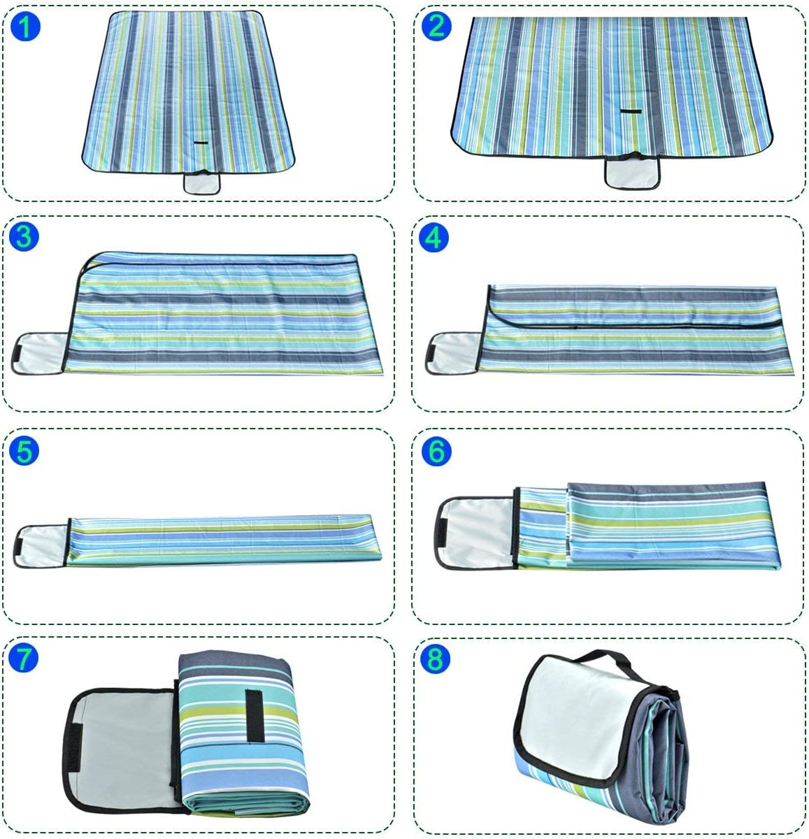 Beaches NB Magic Picnic Mat 59x79 Picnic Blanket Striped Handy Beach Mat Sandproof and Waterproof for Picnic RVing and Outings