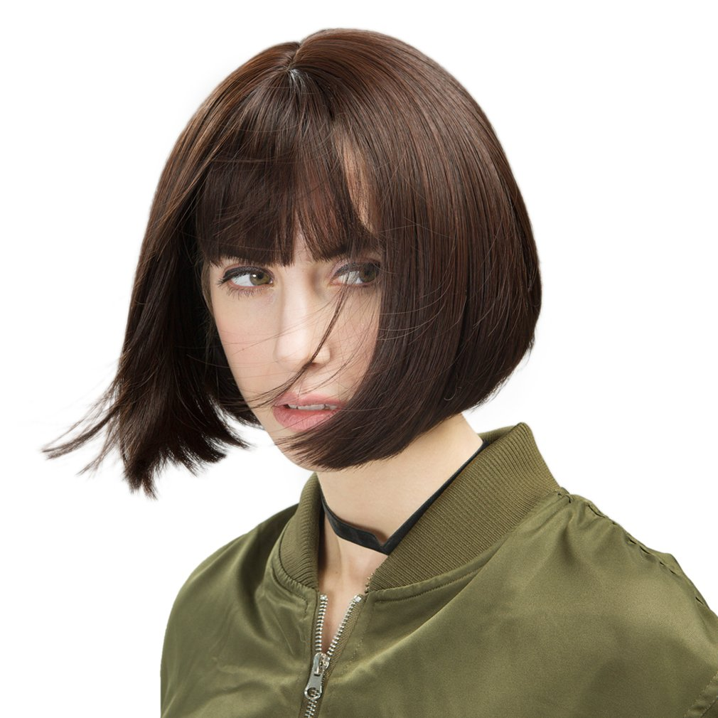 REECHO Short Bob Wig with bangs 11'' Synthetic Hair for White Black Women Color: Dark brown