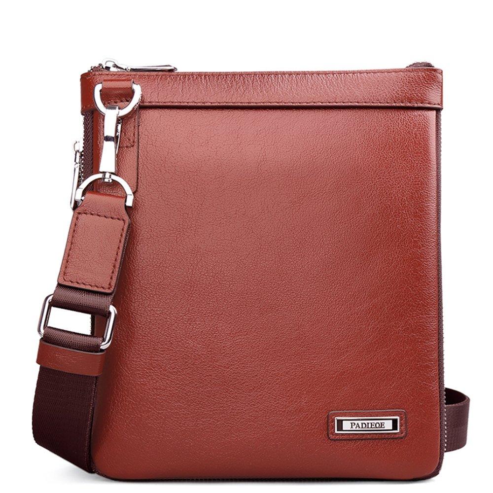 Men's Genuine Leather Small Messenger Bag Shoulder Crossbody Sling Bags Slim Satchel Purse for Men Travel Hiking Office