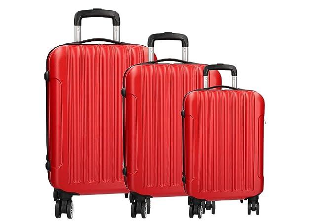 3 Maletas rígidas set rojo cabina 4 ruedas ABS equipaje de mano VS293: Amazon.es: Ropa y accesorios