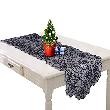 OurWarm Black Christmas Table Runner Lace Spider Web Table Cloth For  Christmas Decorations 20 X 80