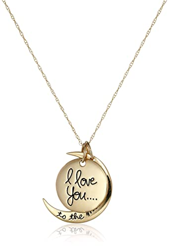 Amazon 14k yellow gold i love you to the moon and back two 14k yellow gold quoti love you to the moon and backquot two mozeypictures Choice Image