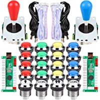 EG STARTS Arcade Gamepads & Standard Controllers DIY Games MAME Kit 2 Ellipse Oval Joystick + 20 LED Chrome Buttons…