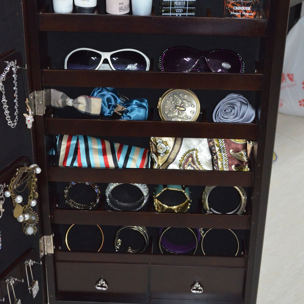 Organizedlife Brown Jewelry Cabinet Full Length Mirror Armoire Free Stand Large Cosmetic Organizer by Organizedlife (Image #7)