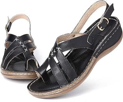 gracosy Kilsandaler för kvinnor sommar promenadsandaler plattform kil tofflor ortopediska flip-flops sommar bohemiska strandskor ledig komfort bred passform sandaler kudde sula halkfri rem platt sko