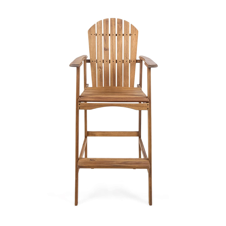 Set of 4 Great Deal Furniture Malibu Outdoor Natural Stained Acacia Wood Adirondack Barstools