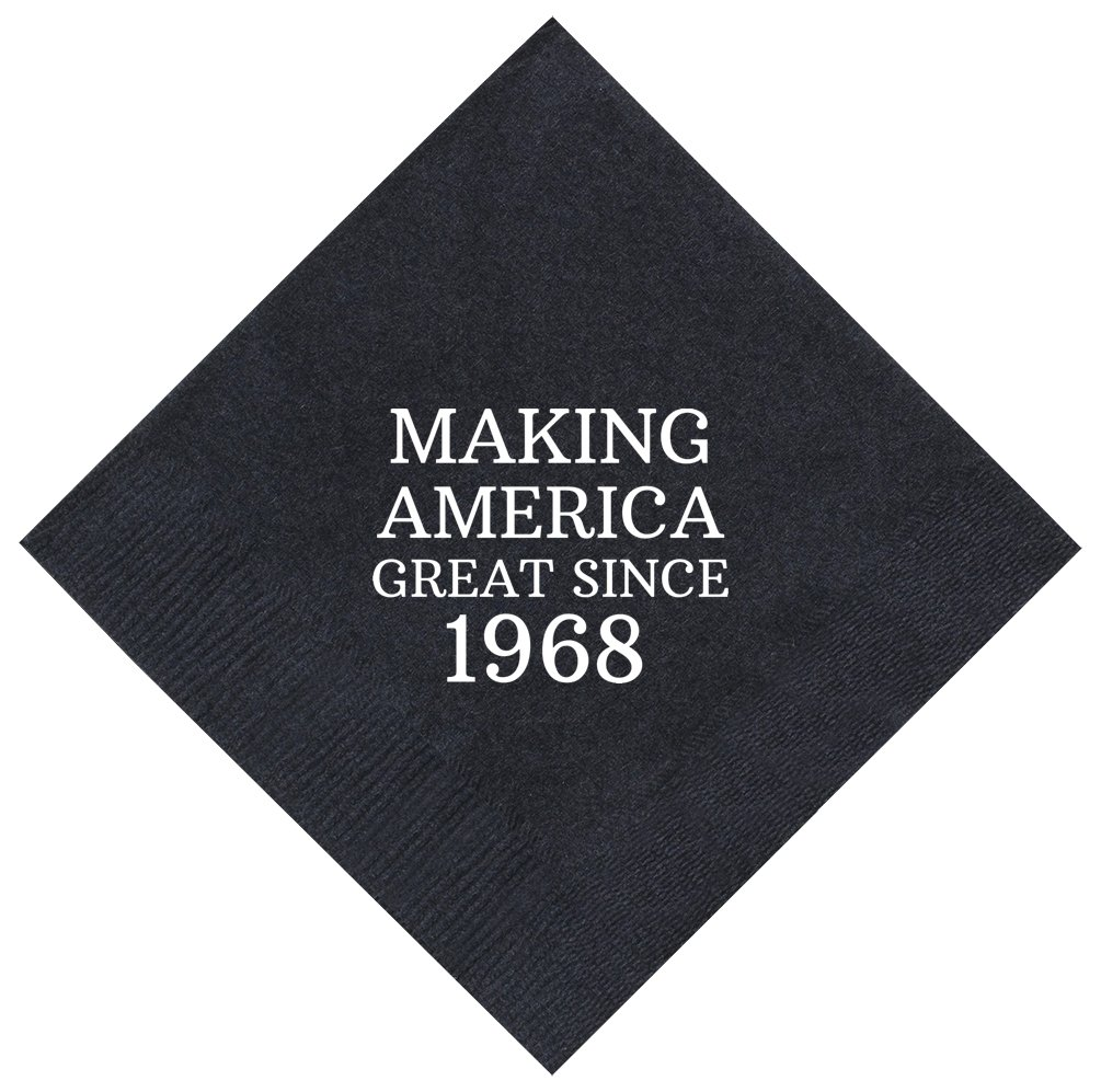50th Birthday Gifts Making America Great Since 1968 50th Birthday Party Supplies 50 Pack 5x5'' Party Napkins Cocktail Napkins Black