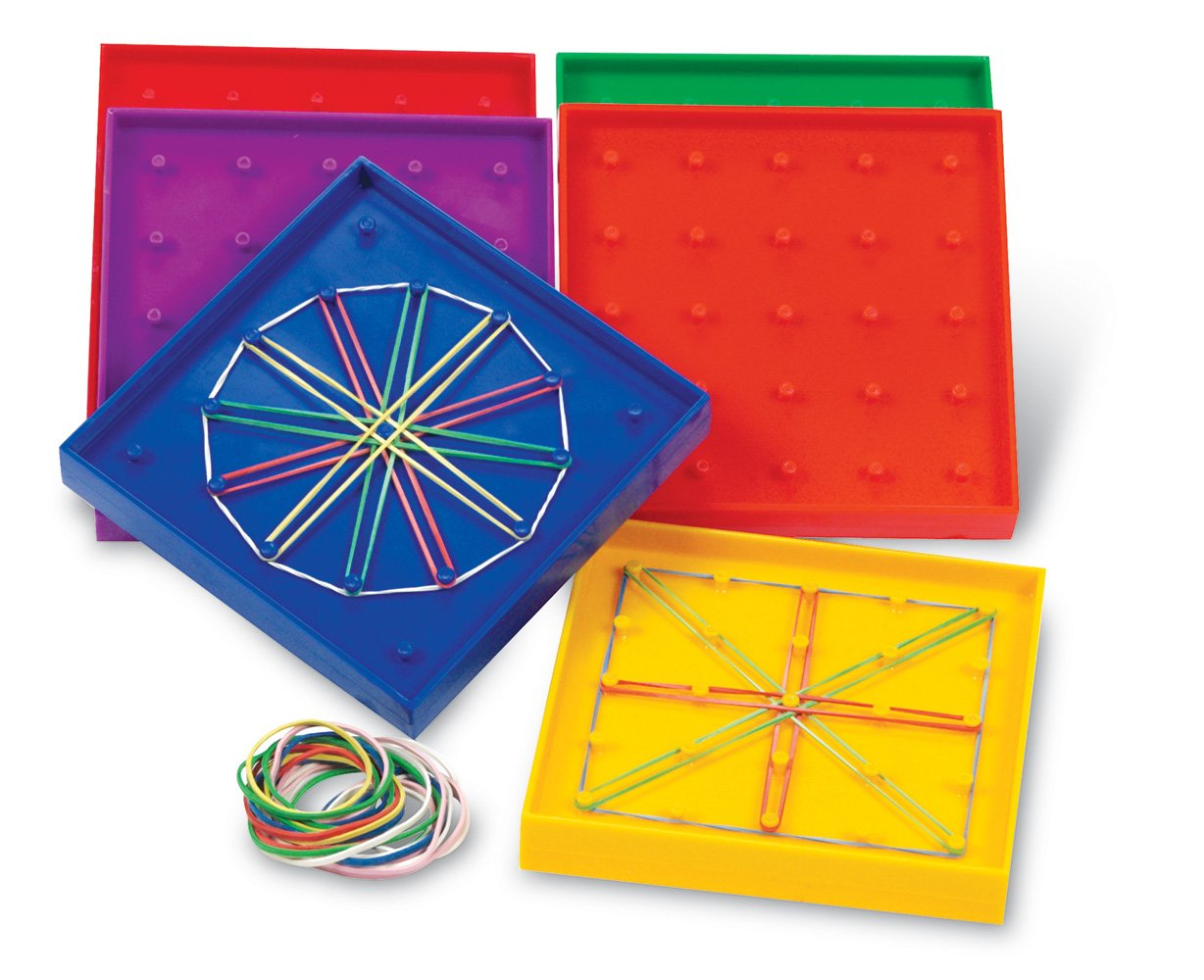 Learning Resources 5 Inch Double Sided Assorted Geoboard Set of 6
