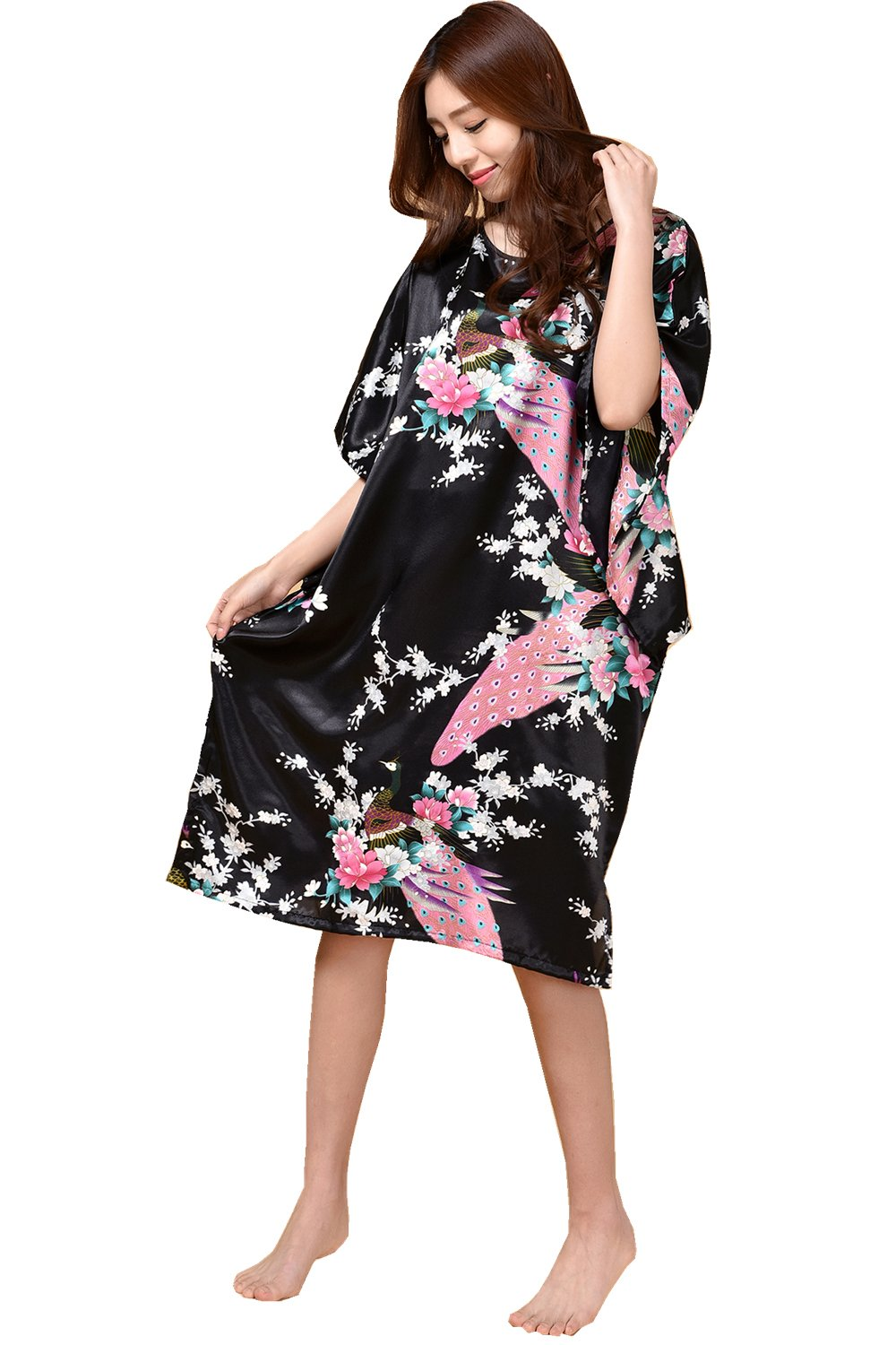 GAOLIGUO GL&G Animal pattern lady silk bathrobe thin section pajamas printing single skirt loose large yards home service comfortable black bathrobes,black,One size by GAOLIGUO (Image #2)