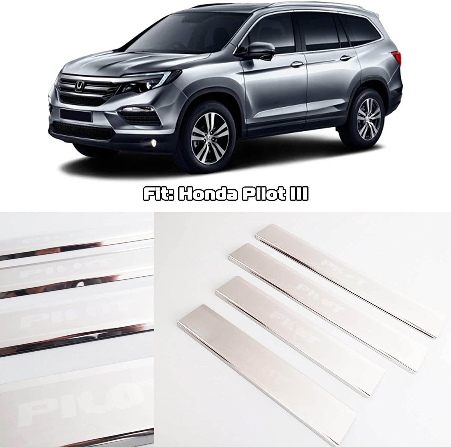 Sports Rubber Car 4 Door Welcome Plate Sill Scuff Cover Moulding Trim Stickers