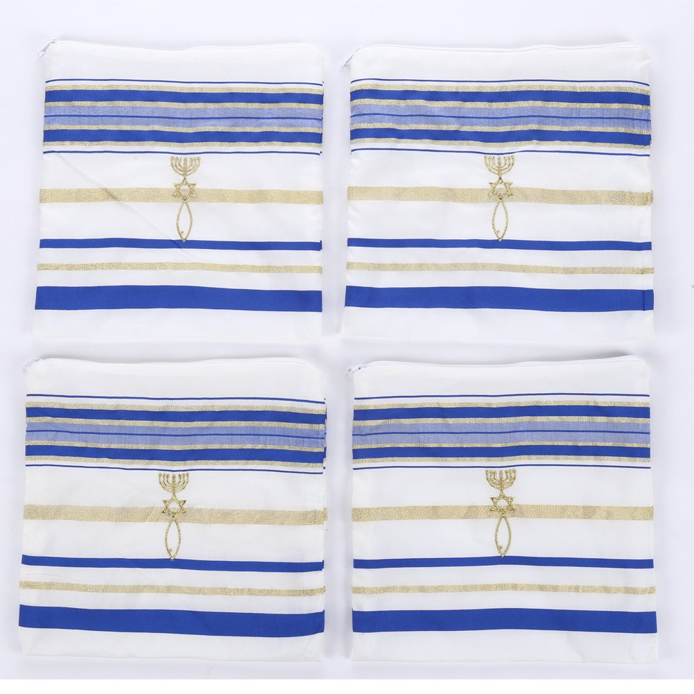 2pcs Pack Royal blue and Gold Color Messianic Tallit prayer shawl 72X22 by Star Gifts