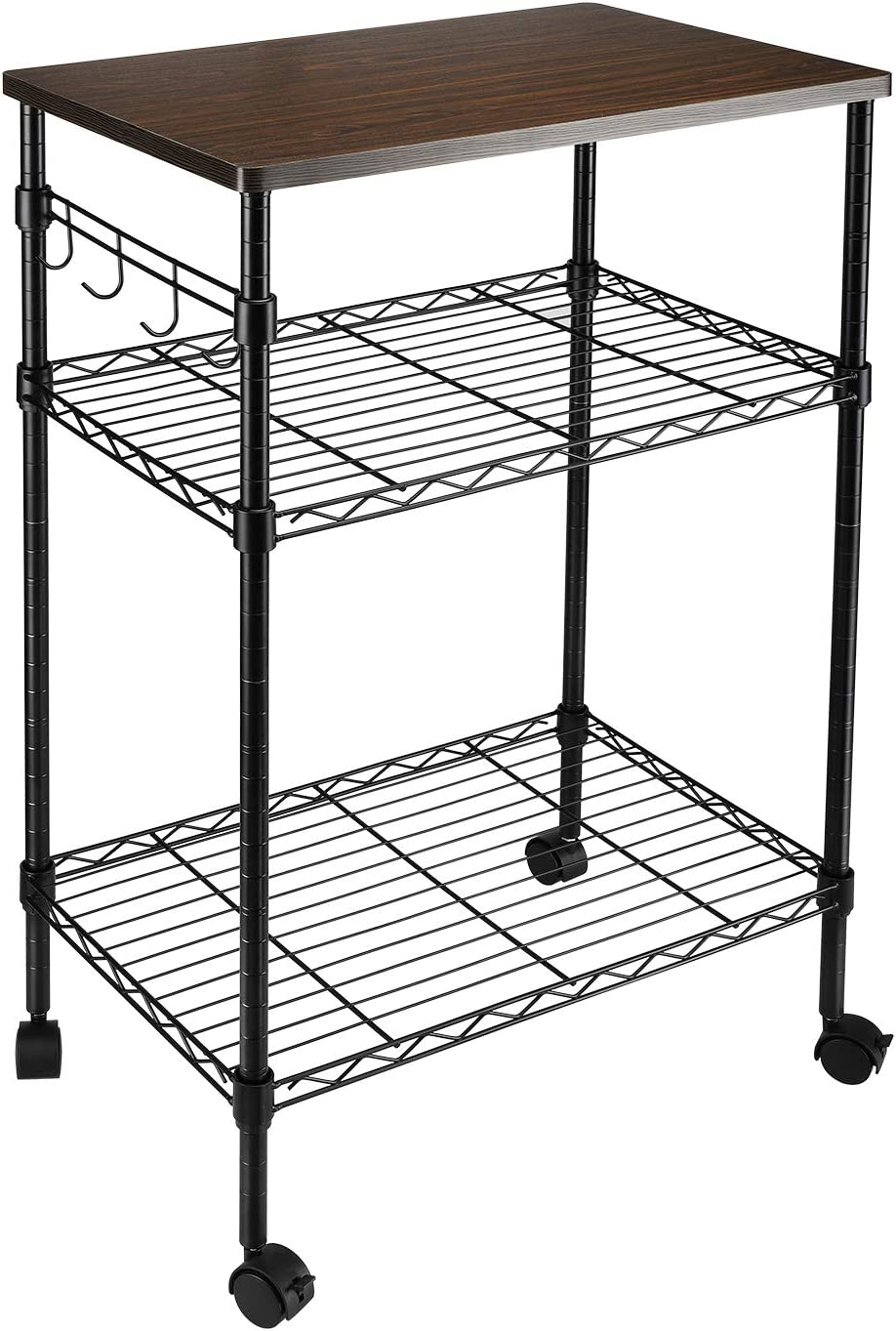 alvorog 3-Tier Rolling Kitchen Cart, Microwave Storage Rack Utility Service Cart with Adjustable Mesh Shelves Bakers Rack for Living Room, Bedroom and Office