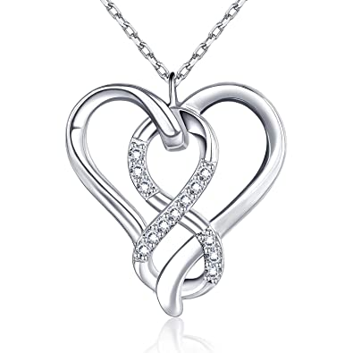 17ef99458cce2 BlingGem White Gold Plated 925 Sterling Silver Infinity Heart Necklace with  Cubic Zirconia Pendant Fine Jewelry
