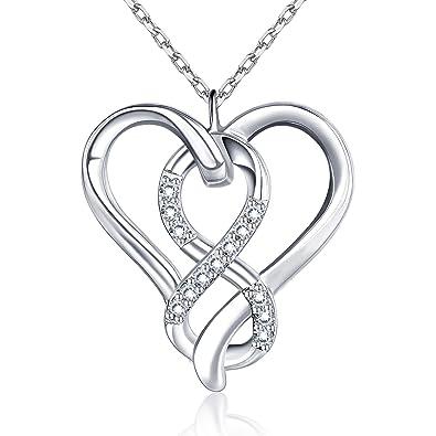 0990443dc468c BlingGem Collier Femme Argent Infini Cœur Amour Bijoux pour Femme en Or  Blanc Plaqué Argent 925