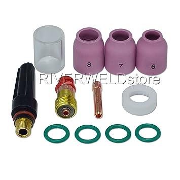 TIG Stubby Gas Lens 17 GL18 1/8 & # 10 Pyrex Cup & TIG Gas Lens ...