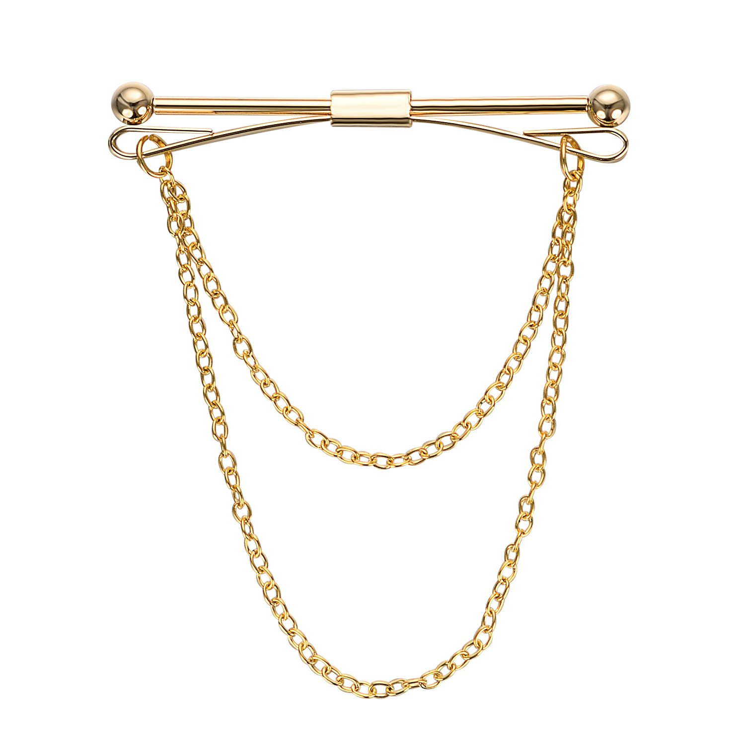 Yoursfs 18K Gold Plated Tie Chain Clip Single Loop Tie Chain Set for Men Best Gift Personalized