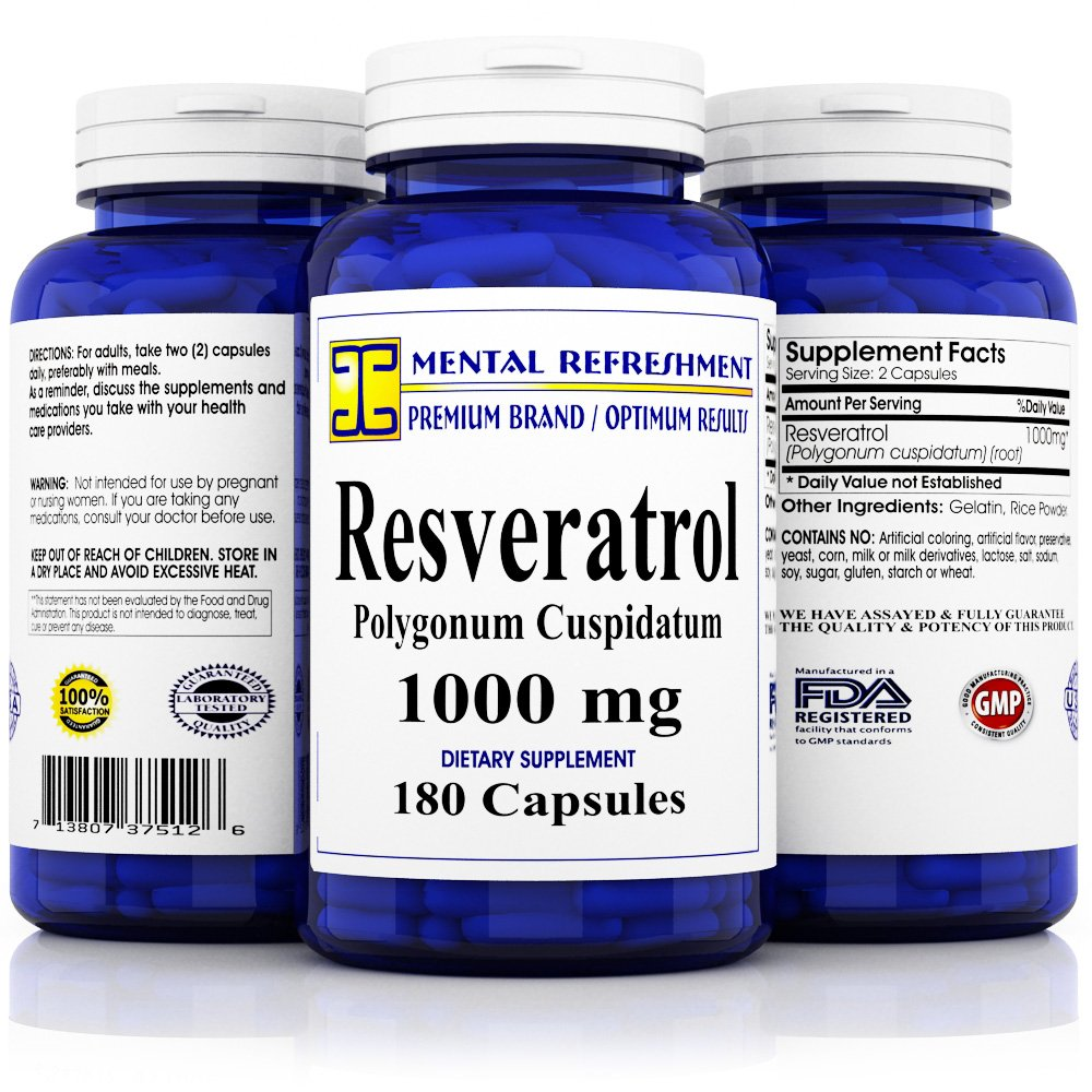 Premium 100% Pure Resveratrol - Heart Health, Weight Loss, Anti-Aging by Mental Refreshment Nutrition