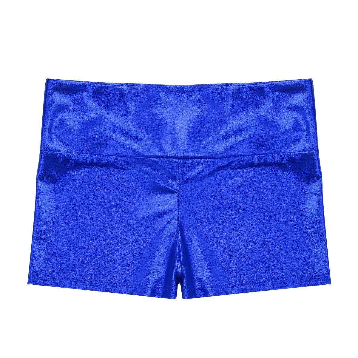 YiZYiF Girls Youth High Waist Stretchy Gymnastics Basics Shiny Metallic Dance Booty Shorts