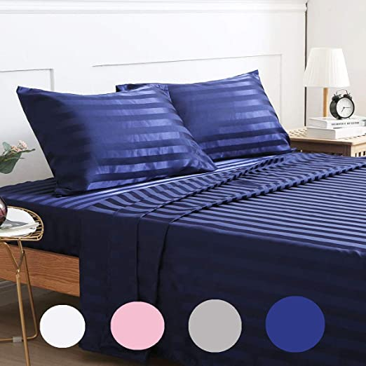 Stripes Bed Cover Set Flat Fitted Deep Pocket Bed Sheet /& Pillowcase Solid Color