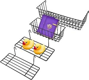 Cedilis Set of 4 Hanging Basket, 2 Wire Basket & 2 Shelf, Premium Metal Wall Grid Panel Basket Display Shelf Storage Rack for Entryway Organizer Wall Decoration Room Office Desk Storage Organizer
