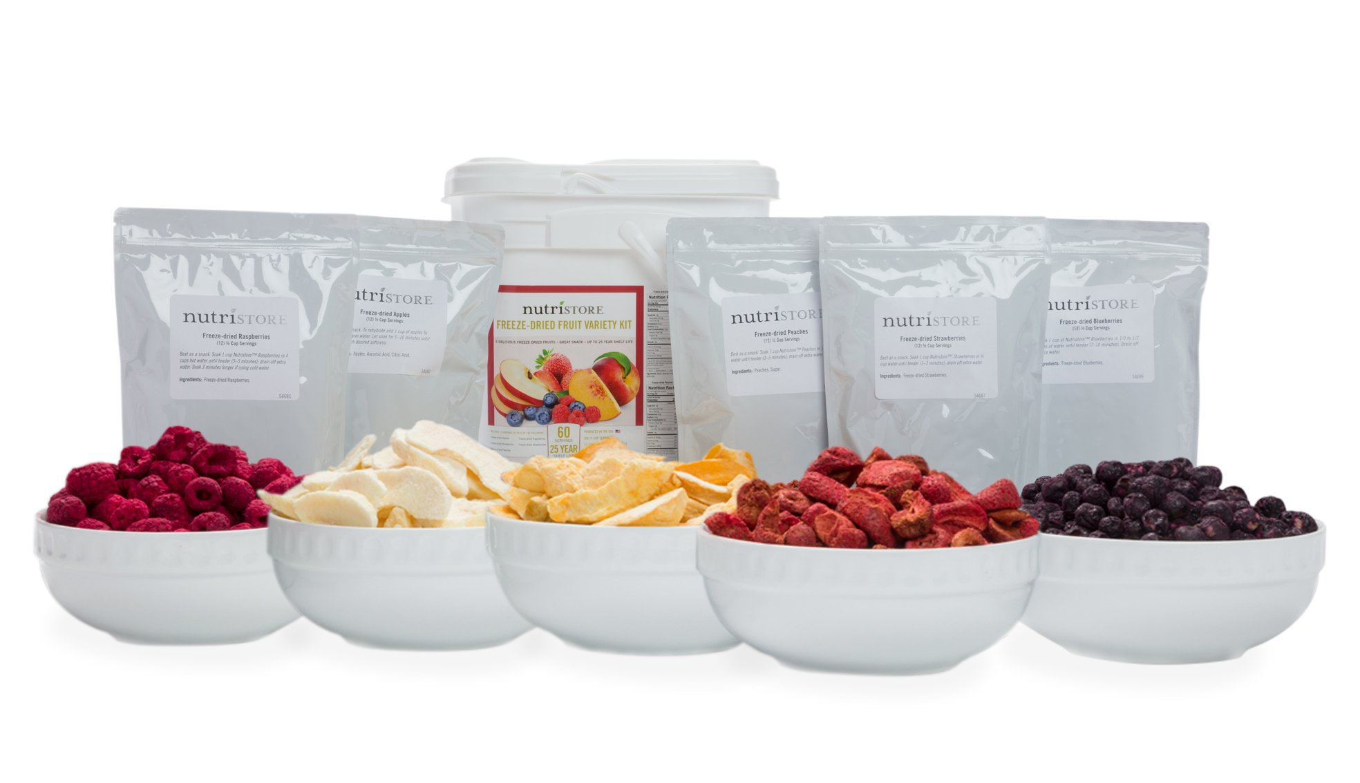 Nutristore Freeze Dried Fruit Variety Bucket by Healthy Snacks  Premium Taste and Quality   Survival Food   1 Month Supply