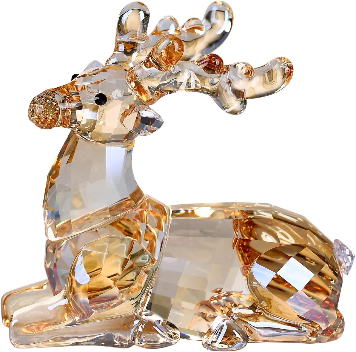 Crystal Sika Deer Animals Lovely Elegant Craft Decorations for Home Ornaments Christmas Collectible Birthday Gifts Reindeer Figurines (Gold)