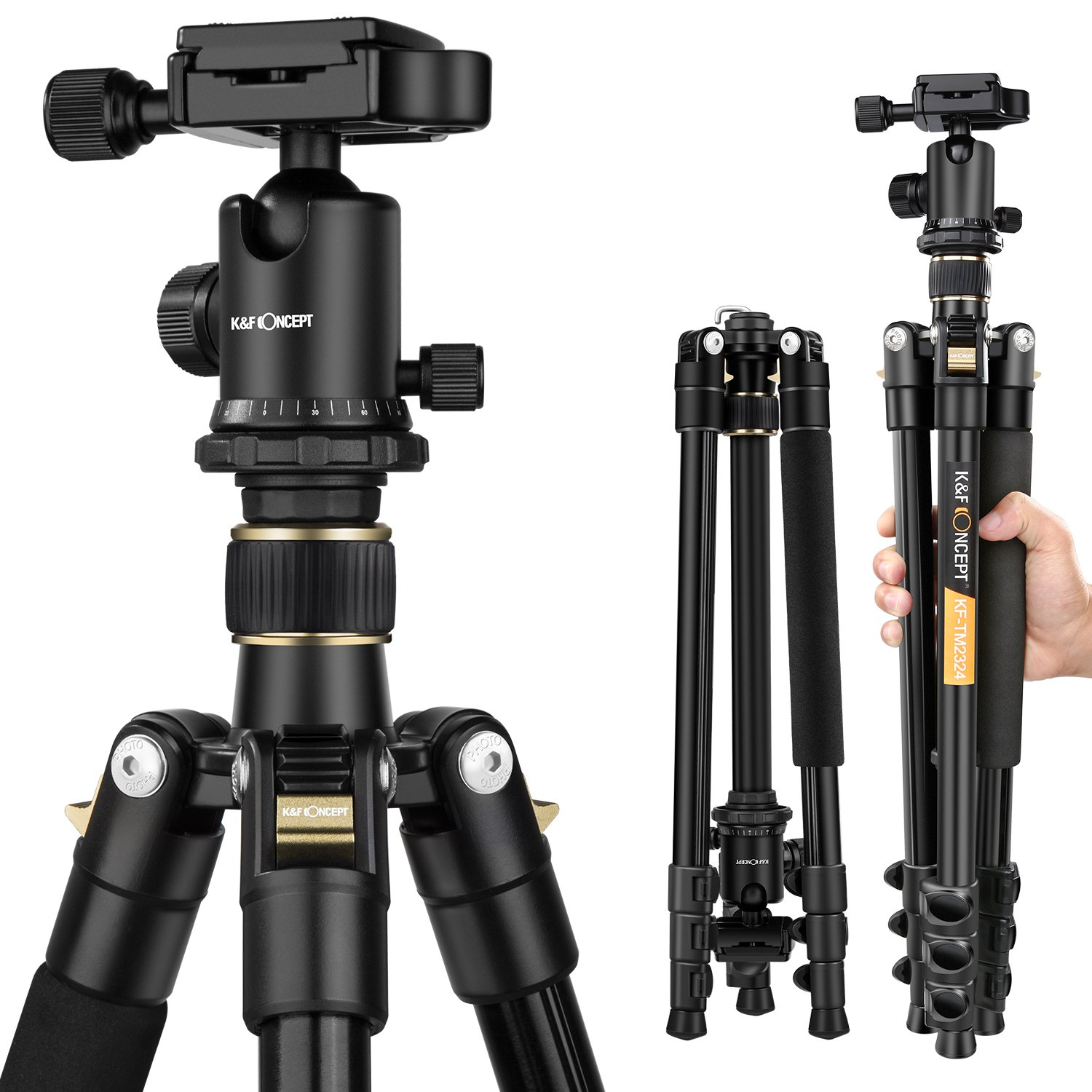 Camera Tripod, K&F Concept 62' Professional Aluminum Tripod TM2324 with Ball Head Quick Release Plate for Canon Nikon Sony Pentax Leica Fuji Lumix Olympus DSLR Camera Super Light-weight Golden Shenzhen Zhuoer Photograph KF09.007
