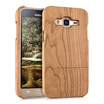 great fit 57c68 f4759 kwmobile Samsung Galaxy J3 (2016) DUOS Wood Case - Non Slip Natural Solid  Hard Wooden Protective Cover for Samsung Galaxy J3 (2016) DUOS