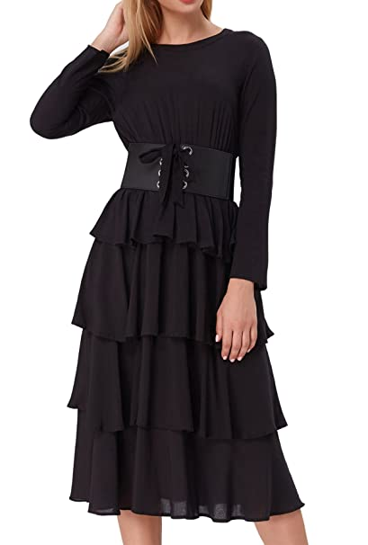 Fashion Steampunk Victorian Punk Prom Dresses Ruffled Dress KK800-1 M Black
