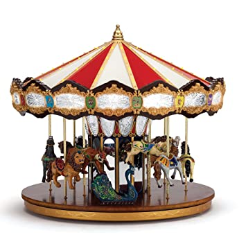 mr christmas grand jubilee holiday carousel music box with 40 songs synchronized lights - Christmas Carousel Decoration