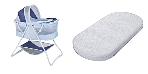 Big Oshi Waterproof Oval Bassinet Mattress and Portable Indoor Outdoor Bassinet