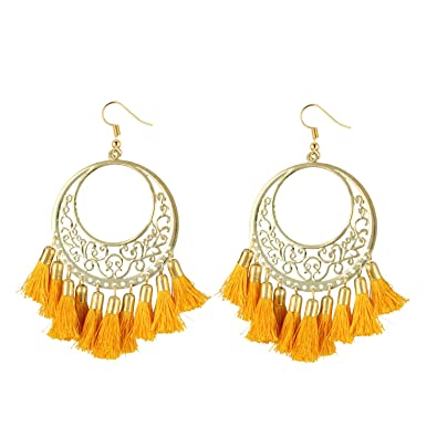 0a9a38cda Aradhya Designer Light Weight Oxidized Golden Metal and Mustard Yellow  Tassel Earrings for Girls: Amazon.in: Jewellery