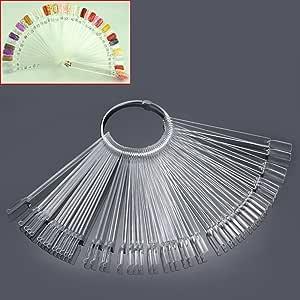 Mofun® 50X Nail Art Tips Colour Pop Sticks Display Fan Practice starter ring Clear