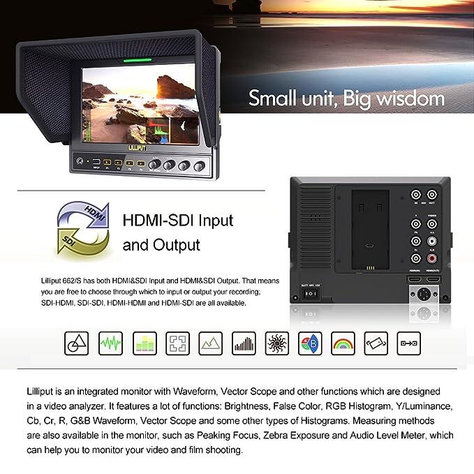 Lilliput 662/S 7 pulgadas IPS 1280 * 800 de 3 G SDI Cámara Vídeo ...