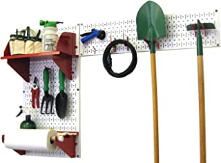 product image for Wall Control Pegboard Garden Supplies Storage and Organization Garden Tool Organizer Kit with White Pegboard and Red Accessories