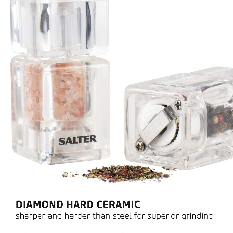 Mini Salt And Pepper Mill Set Kitchen Condiment Grinders Ceramic